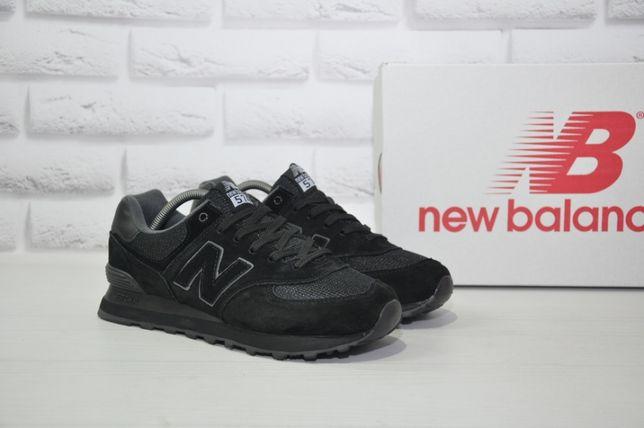 Акция!Мужские кроссовки New Balance 574 черные замша/текстиль 41-46 р.
