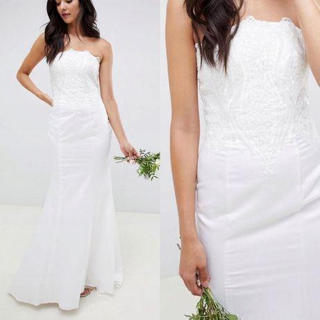 Suknia ślubna 42 44 XL XXL ołówkowa koronka syrena tren obcisła prosta