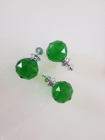 Szklane gałki uchwyty do mebli zielone Nowe