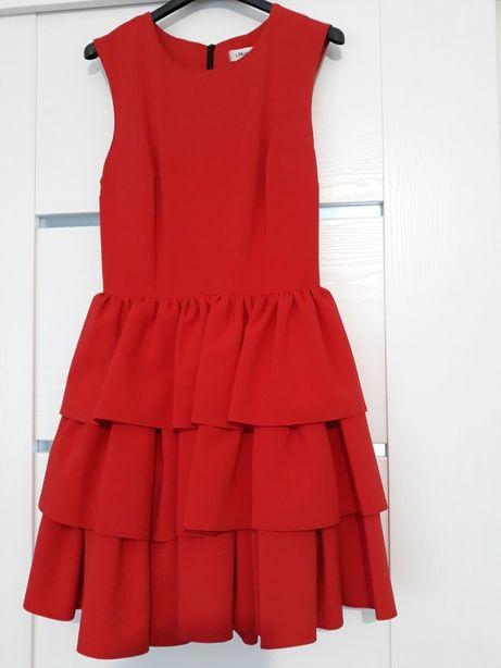 Sukienka czerwona s morris falbany rozmiar m