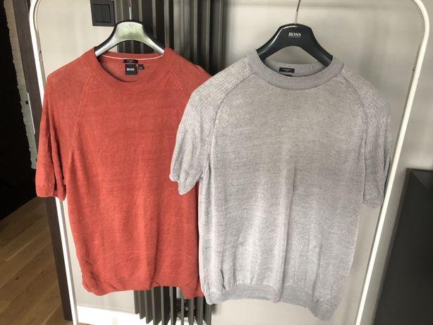 Lniane swetry z krótkim rękawem Hugo Boss