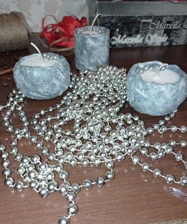 Свечи с кокосовым воском в кашпо из гипса