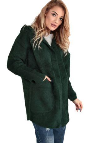 Płaszcz kurtka sweter wełna alpaka jesień butelkowy zielony uniw. 1946