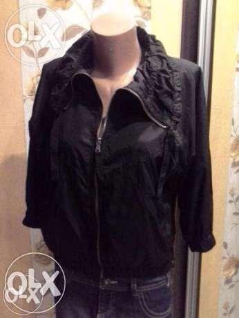 Куртка ветровка кардиган черная фирменная