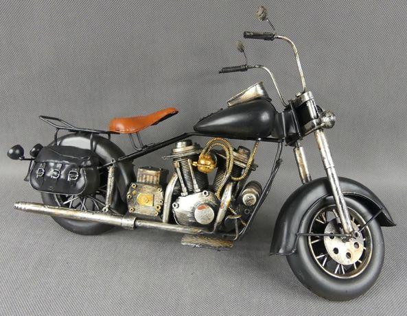Metalowy czarny MOTOR retro pojazd 41,5 cm motocykl