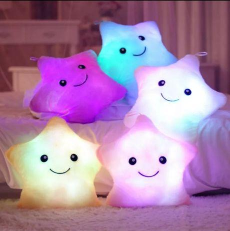 Плюшевая подушка звёздочка. Светящиеся подушка.