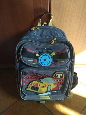 Plecak, tornister szkolny, auto/ auta szary, żółty, odblaski, stelaż