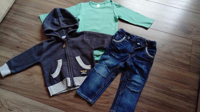 Śliczny zestaw dla chłopca, body, bluza i spodnie rozm. 80 COCCODRILLO