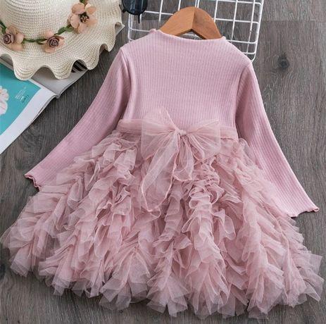 Повседневное, нарядное, платье пудрового цвета, р. 110-120 см