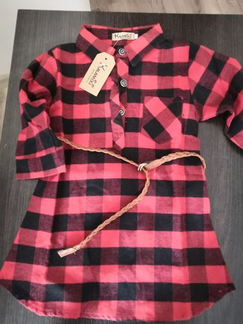 Sukienka/tunika czerwono czarna krata