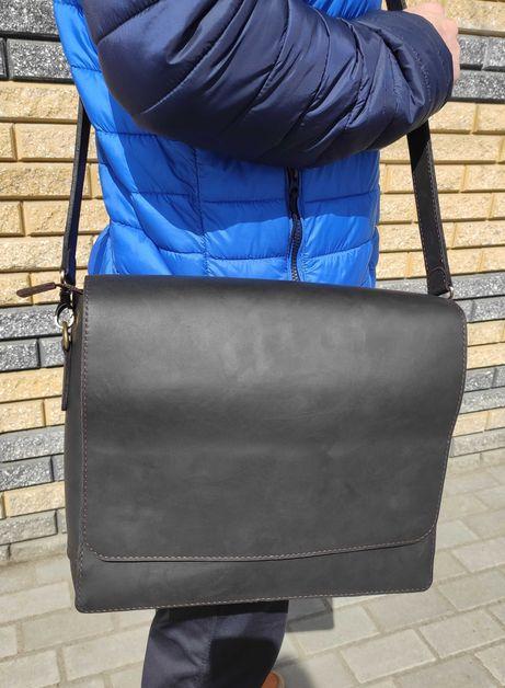 Кожаная мужская сумка А4 ручной работы