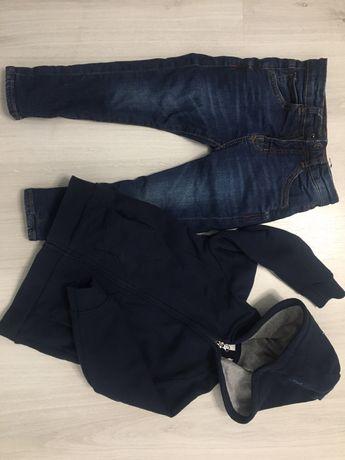 Spodnie jeansowe Zara 104 2 szt plus bluza granatowa z kapturem Slim