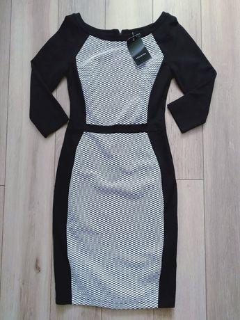 Nowa sukienka damska Reserved S 36 czarno-biała