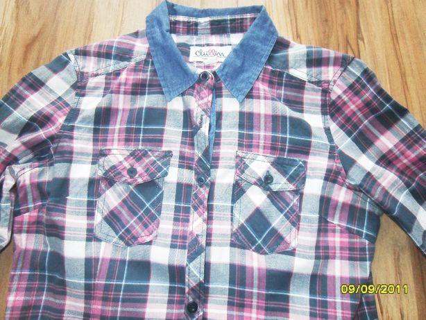koszula krata jeans modna S/M bluzka WYPRZEDAŻ SZAFY