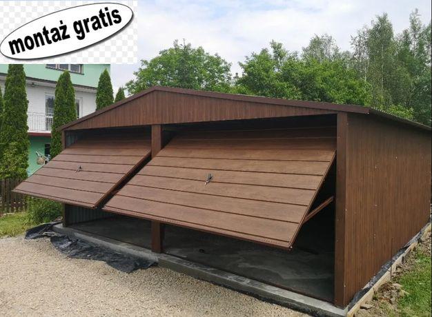 Garaż blaszany 6x5,6x6 orzech, producent Garaże dwu stanowskowe