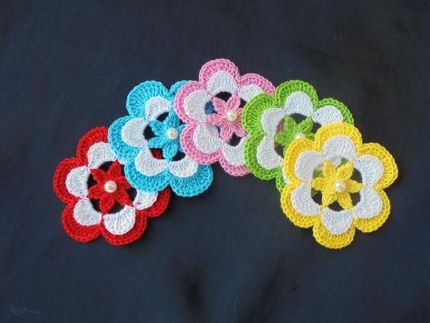 Flores em croché, para aplicar, 100% algodão, 6 cm