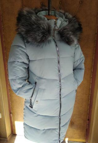 Куртка-пуховик 48р Китай женская полу-пальто зимняя с мехом пальто нов