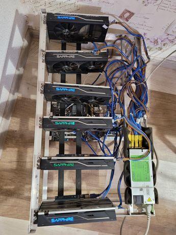 Майнинг ферма 6 карт rx470 4gb sapphire rig gpu minig