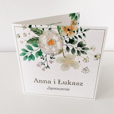 Zaproszenia ślubne z herbacianymi kwiatami