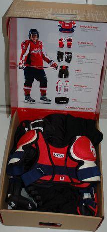 Hokej Youth 8'' cali KOMPLET rękawice nagolenie bodik spodnie torba
