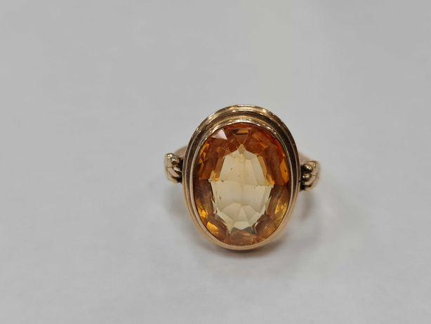 Retro! Wiekowy złoty pierścionek/ 585/ 7.00 gram/ R18/ Cytryn