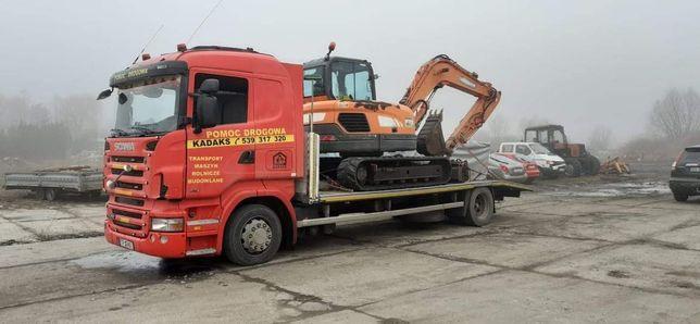 Pomoc Drogowa laweta Transport samochodów,Maszyn rolnicych budowlanych