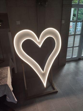 Serce LED na wesele urodziny rocznicę, napis