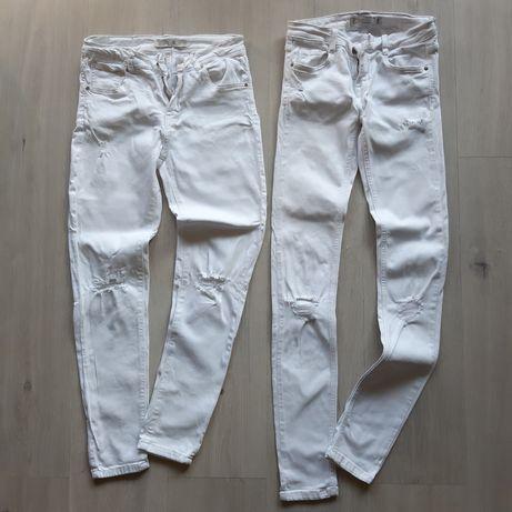 Białe jeansy ZARA xs/s spodnie dziury destroyed drugie GRATIS