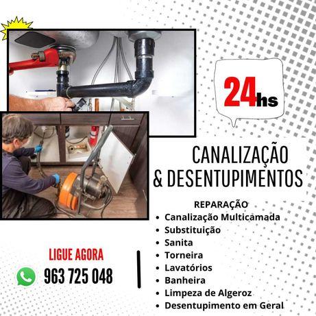 Canalização 24h/Desentupimentos Prumadas/Banheira/Algeroz/Sifão/Pia .