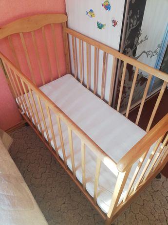 Кроватка-качалка на колёсиках детская + матрас Lintex