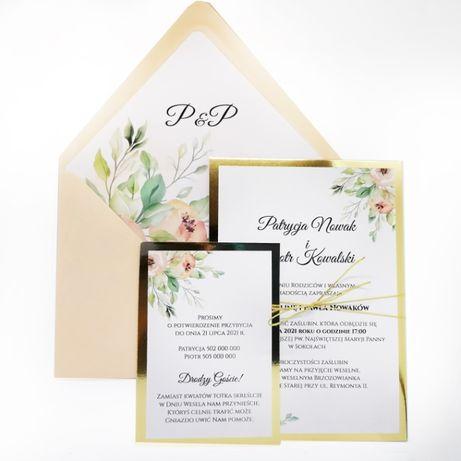 Zaproszenia ślubne w stylu GLAMOUR jednokartkowe brzoskwiniowe