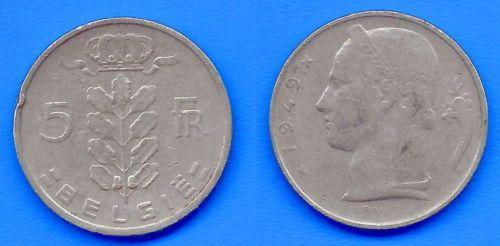 Belgii 5 franków 1949 Belgique Belgie