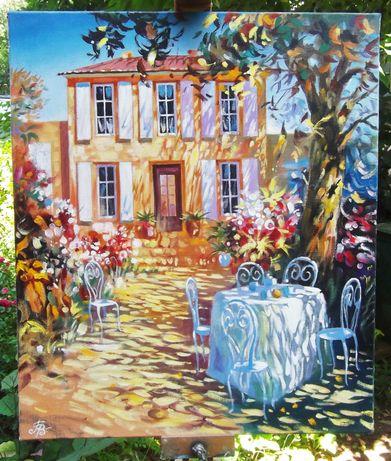 Картина маслом масло на холсте художника пейзаж осень город кухню стен