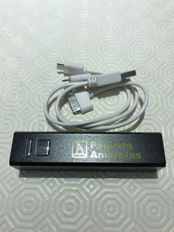 Powerbank 2200mAh com cabo compatível com vários telemóveis