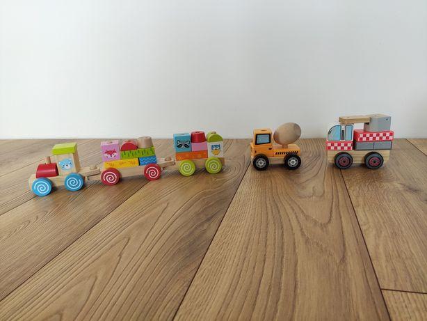 Zestaw drewnianych klocków. Pociąg, betoniarka, wóz strażacki.