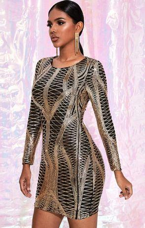 Sukienka mini złote cekiny XS nowa