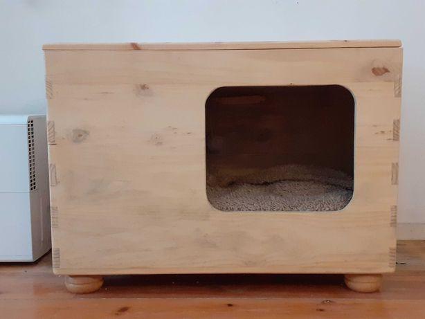 Casa para gato ou cão porte médio (feito à mão em madeira natural)