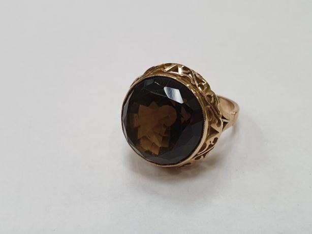 Retro! Piękny! Duży! Złoty pierścionek damski/ Topaz/ 585/ 13.9g/ R22