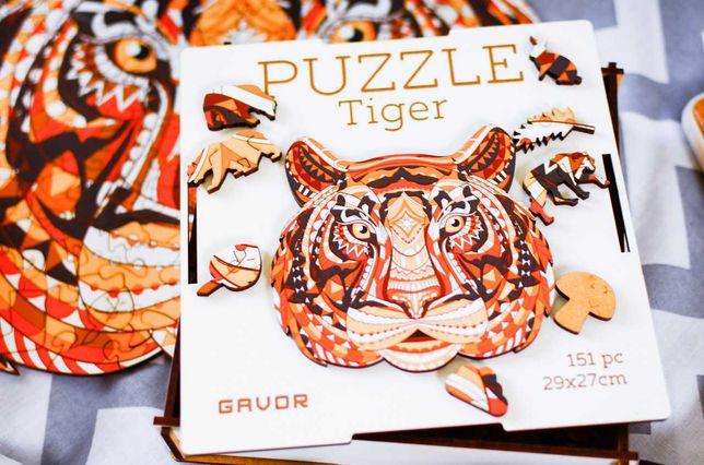 Деревянные фигурные пазлы для детей Puzzle Тигр Игрушка Пазл