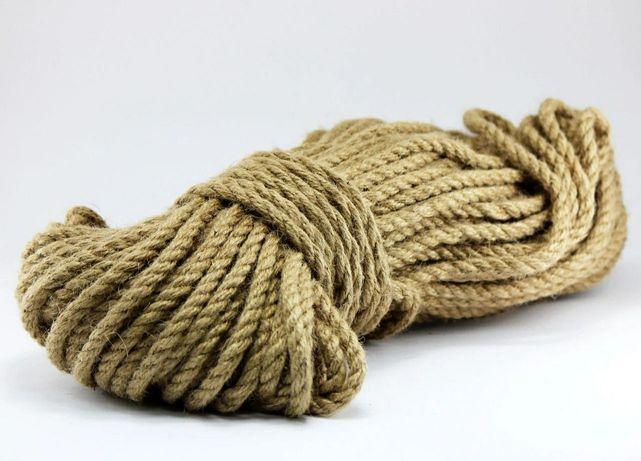 Верёвка джутовая 8 мм 50м канат джутовый плетеный