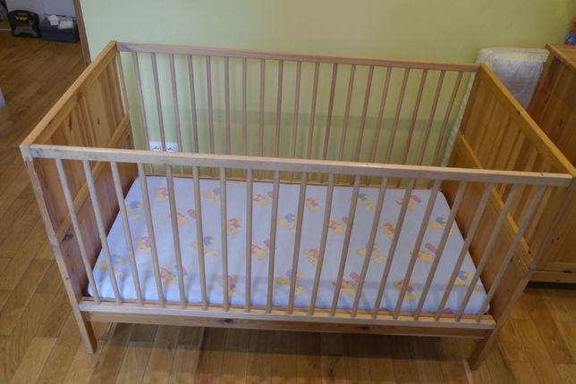 Łóżko łóżeczko drewniane niemowlęce i dziecięce z materacem 2w1