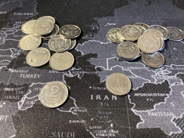 Монеты Украины 1 коп и 2 коп