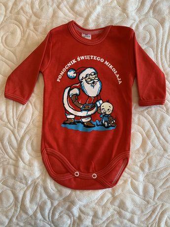 Body Pomocnik Świętego Mikołaja czerwone + rajstopki NOWE 56