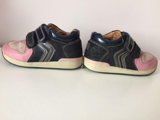 Кожаные кроссовки Geox 24р розовый/темно-синий с напылением
