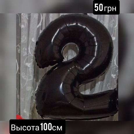 Цифра 2 фольгированная шарик