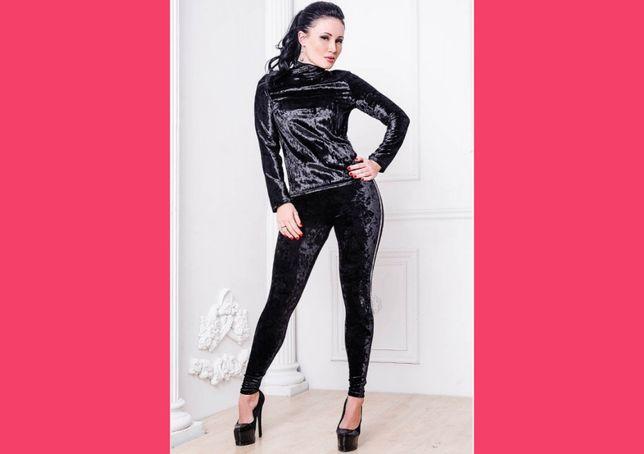 Шикарный женский велюровый костюм стрейч модный стильный сексуальный