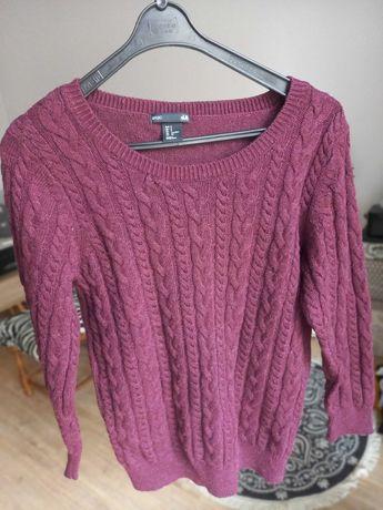 Sweter damski H&M Basic warkocze bordowy roz.S alpaka,wełna