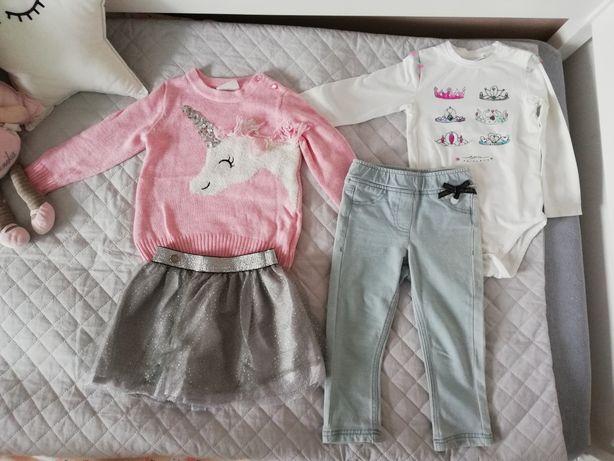 Coccodrillo komplet, roz. 92 spódniczka, sweter, jeansy, body