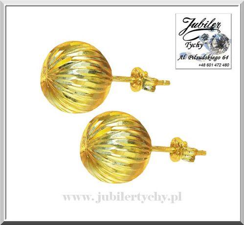 Złote kolczyki kule grawerowane kulki złoto 585 kuleczki Jubiler Tychy