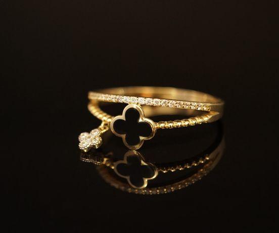 Złoto 585 - złoty pierścionek z cyrkoniami Celebrytka. Rozmiar 24